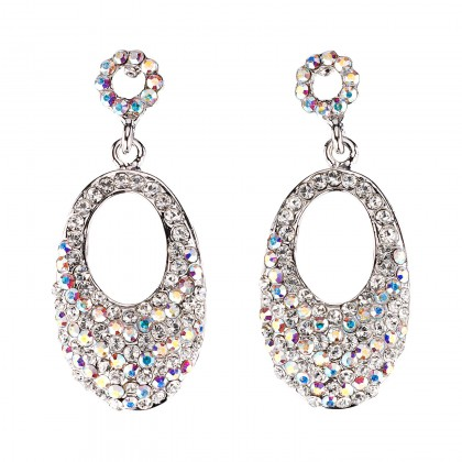 Oval Crystal Drop Earrings with AB & White Diamond Swarovski Crystal