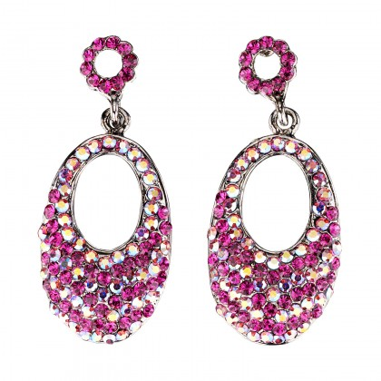 Oval Crystal Drop Earrings with AB Fuchsia and Fuchsia Pink Swarovski Crystal