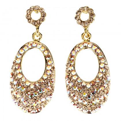 Oval Crystal Drop Earrings with AB Topaz & Topaz Swarovski Crystal
