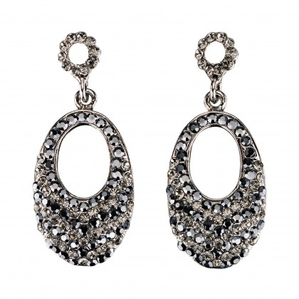 Oval Crystal Drop Earrings with Black Diamond and Jet Black Swarovski Crystal