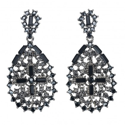 Pear Shape with Cross Drop Earrings Black Swarovski Crystal & Rhodium Plating
