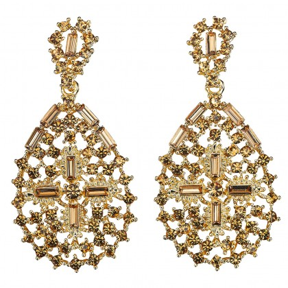 Pear Shape with Cross, Drop Earrings with Topaz Swarovski Crystal & Gold Plating