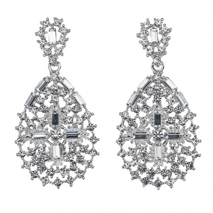 Pear Shape with Cross, Drop Earrings with White Diamond Swarovski Crystal & Rhodium Plating