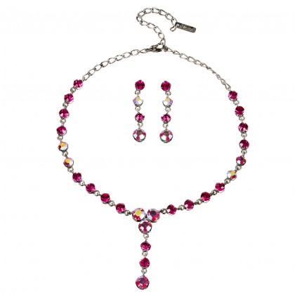 Pink Crystal Necklace and Earrings Set, 4 Crystal Drop