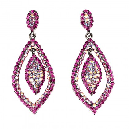 Dangling Tear Drop Crystal Earrings with Pink Fuchsia and Pink AB Fuchsia Swarovski Crystal - 65 mm drop length.