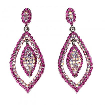 Dangling Tear Drop Crystal Earrings with Pink Fuchsia and Pink AB Fuchsia Swarovski Crystal - 65 mm drop length.