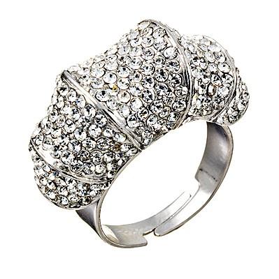 Tonal Ring with Swarovski Crystal Rhodium Plated Silver Finish Gemini