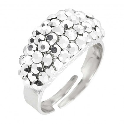 Swarovski Silver Cal Crystal Cluster Band Ring (Small), Rhodium Plated Silver Finish. Gemini London Jewellery