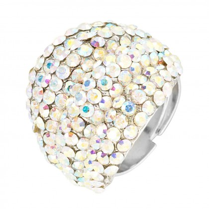 Swarovski AB Crystal Cluster Band Ring (large), Rhodium Plated Silver Finish. Gemini London Jewellery