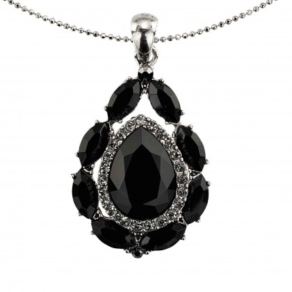 Tear Drop SwarovskiBlack Crystal Pendant Necklace, Rhodium Plated (Necklace only)
