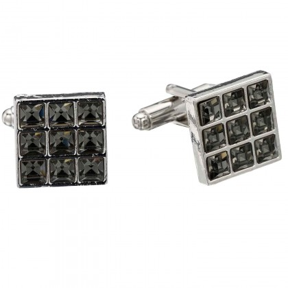 Swarovski Black Diamond Crystal 9 Cube 15mm Square Cufflinks