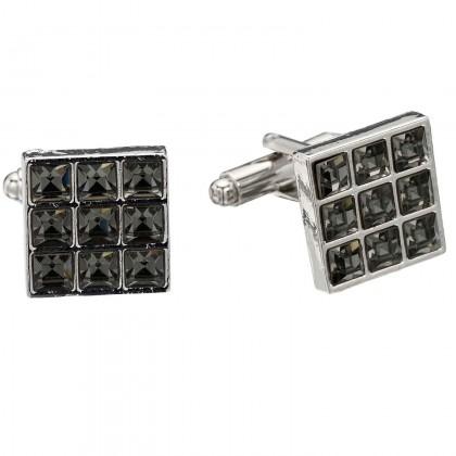 Swarovski Black Diamond Crystal 9 Cube 15mm Square Cufflinks