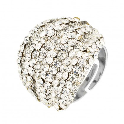 Swarovski White Diamond Crystal Cluster Band Ring (large), Rhodium Plated Silver Finish. Gemini London Jewellery