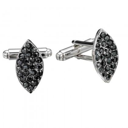 Swarovski Crystal Jet Black Marquise Cufflinks