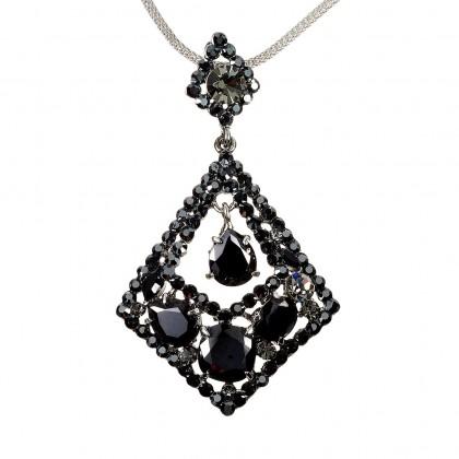 Rhombus Diamond Swarovski Jet Black Diamond Crystal Pendant Necklace