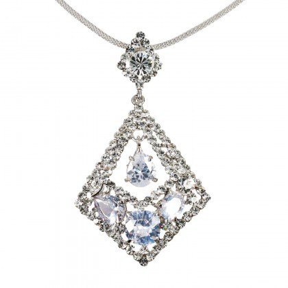 Rhombus Diamond Swarovski White Diamond Crystal Pendant Necklace
