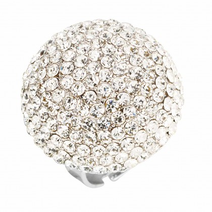 White Diamond Swarovski Crystal Dome Cluster Adjustable Ring