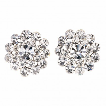 Swarovski Crystal Flower Crystal Stud Earrings - 18m Diameter
