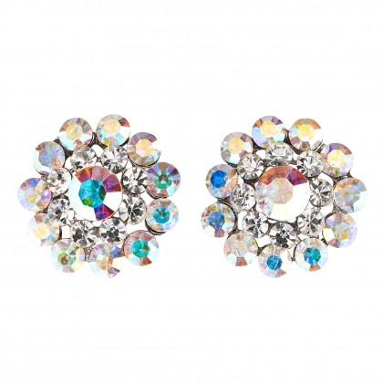 Swarovski Crystal Flower AB and Clear Crystal Stud Earrings - 18mm Diameter
