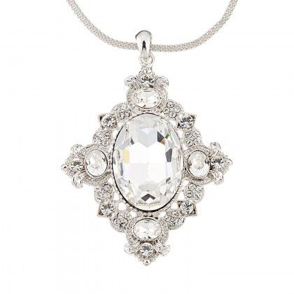 Vintage Swarovski White Diamond Crystal Pendant Necklace, Rhodium Plated, Nickel Free