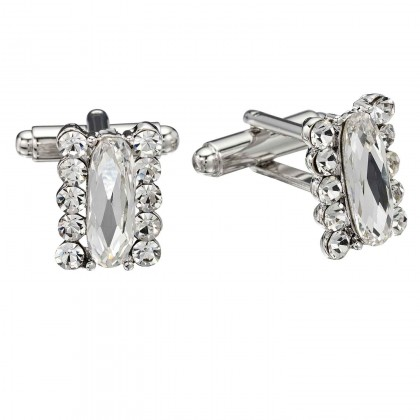 Swarovski White Diamond Crystal Rectangle Cufflinks Cubic Zirconia