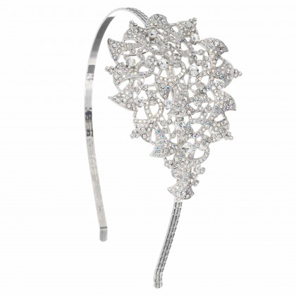 Swarovski White Diamond, AB Crystal Flower, Horns, Bells, Hairband