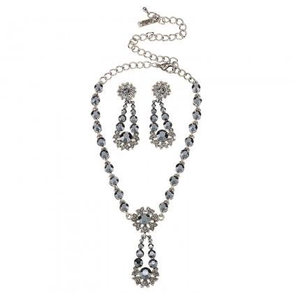 Black Crystal Flower Pendant Drop Necklace and Earrings Set, Black Swarovski Crystals