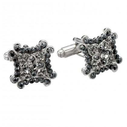 Jet Black Square Decorate Swarovski Crystal Cufflinks Gemini London