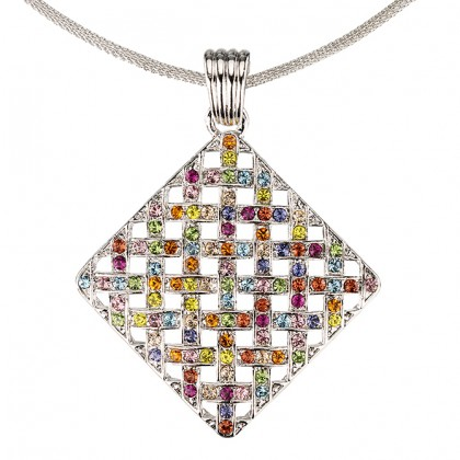Multi Coloured Pendant Necklace Swarovski Crystal Cluster Diamond