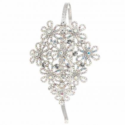 Swarovski White Diamond, AB Crystal Flower, Floral Hairband