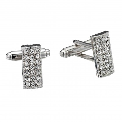 White Diamond Rectangle Swarovski Crystal Cufflinks Gemini London