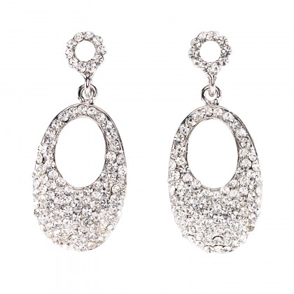 Swarovski White Diamond Crystal oval drop earrings