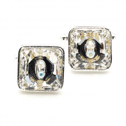 White Diamond Clear Square Swarovski Crystal Cufflinks Gemini London
