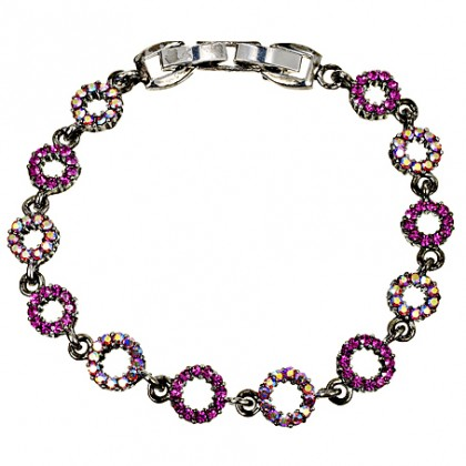 Pink Crystal Circle Bracelet, Fushia & AB Swarovski Crystals, Antique finish Rhodium Plated