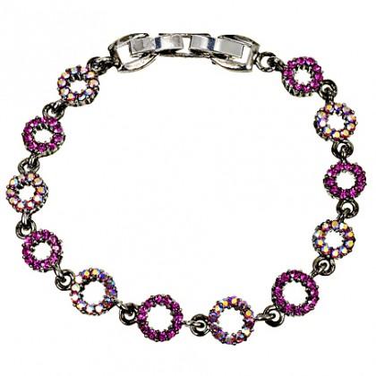 Pink Crystal Circle Bracelet, Fushia & AB Swarovski Crystals, Antique finish Rhodium Plated
