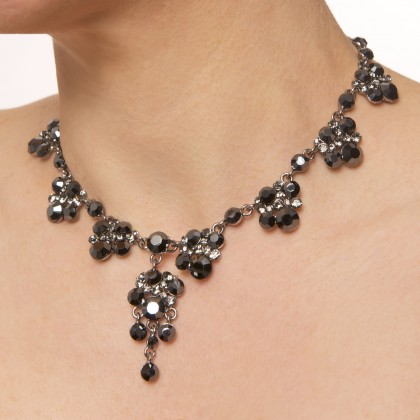 Swarovski Black Crystal 8 Cluster with a Cluster Drop Dance Necklace