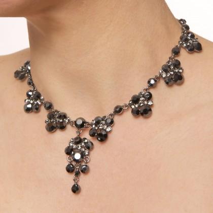 Swarovski Black Crystal 8 Cluster with a Cluster Drop Dance Necklace