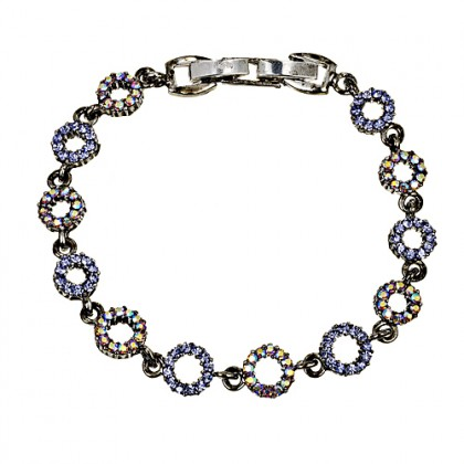Blue Crystal Circle Bracelet, Tanzanite & AB Tanzanite Swarovski Crystals