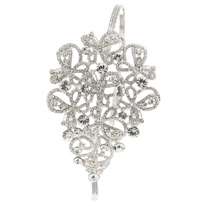 Swarovski White Diamond Clear Crystal Swirl Bow Hairband