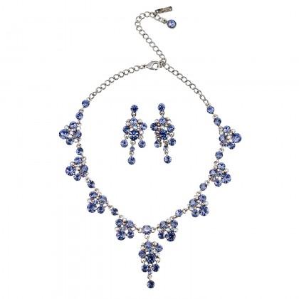 Blue Crystal Necklace and Earrings Set, Chandelier Drop, Tanzanite & Tanzanite AB Swarovski Crystals