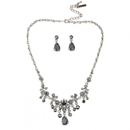 Vintage Black Drop Necklace with Earrings