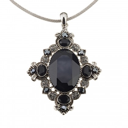 Vintage Swarovski Black Diamond & Jet Crystal Pendant Necklace, Rhodium Plated, Nickel Free