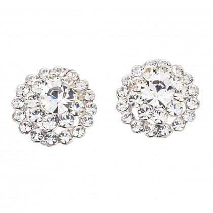 White Diamond Swarovski Crystal Flower Crystal Stud Earrings - 22mm Diameter