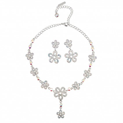 AB Crystal Jewellery Set - Necklace and Earrings of Summer Flowers, AB & Clear Swarovski Crystals