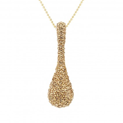 Gold Topaz Swarovski Crystal Peanut Pendant Necklace
