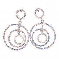 AB & Clear Crystal Earrings, Three Circle 58mm Drops