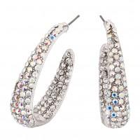 AB Crystal Earrings Large Hooped, 38mm Length