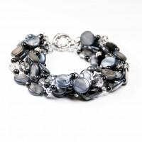 Black/Navy Shell, Beads, Crystal 6 Stranded Bracelet, Designer Bcharmd