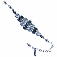 Black Jet & Clear Crystal Bracelet, Diamond Shaped