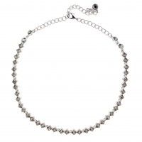 Black Crystal Diamond Row Necklace Black Diamond Swarovski Crystals, Rhodium Plated.
